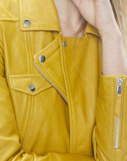 Gabriel yellow biker-style leather jacket (4) - 1-2-3