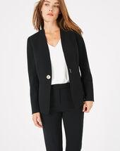 Majeste black mid-length tailored jacket black.