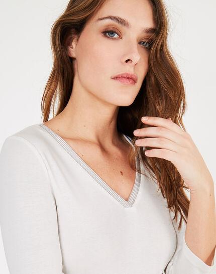 Neck ecru T-shirt with diamanté neckline (3) - 1-2-3