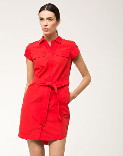 Bogota red cotton shirt-dress (4) - 1-2-3