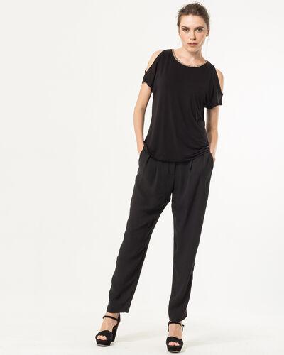 Tee-shirt noir col perles Nude (2) - 1-2-3