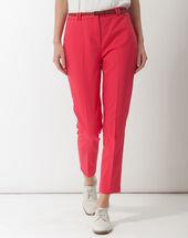 Pauline smart pink trousers with belt light fuchsia.