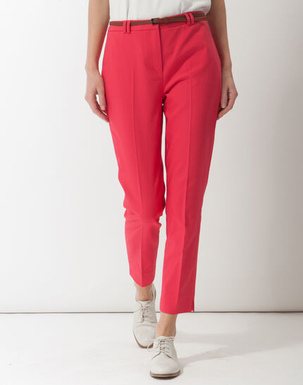 Pauline smart pink trousers with belt PhotoZ | 1-2-3