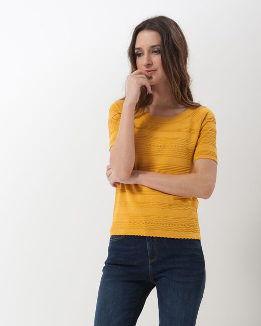 Hélène ochre sweater with stitching detail (1) - 1-2-3