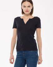 Tee-shirt bleu marine col strass nirvana marine.