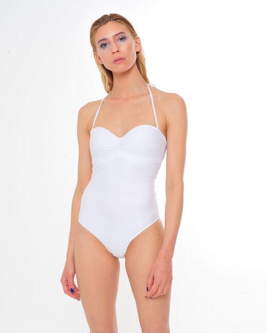 Bandeau-Badeanzug aus weißem Jacquard Jessica (2) - 1-2-3