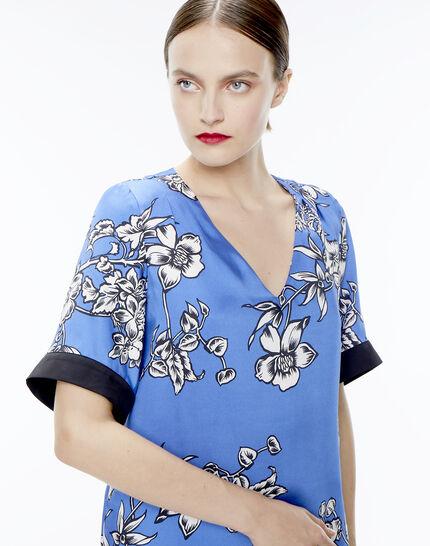 Blouse bleue imprimé fleuri Eclat PhotoZ | 1-2-3