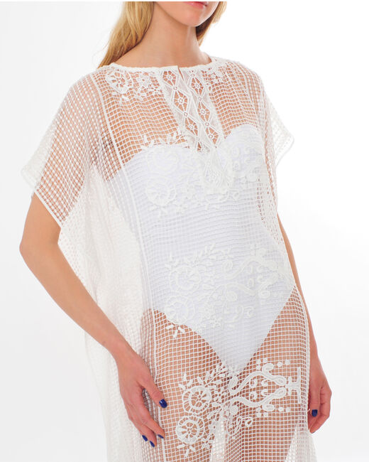 Sophie short white lace kaftan for the beach (1) - 1-2-3