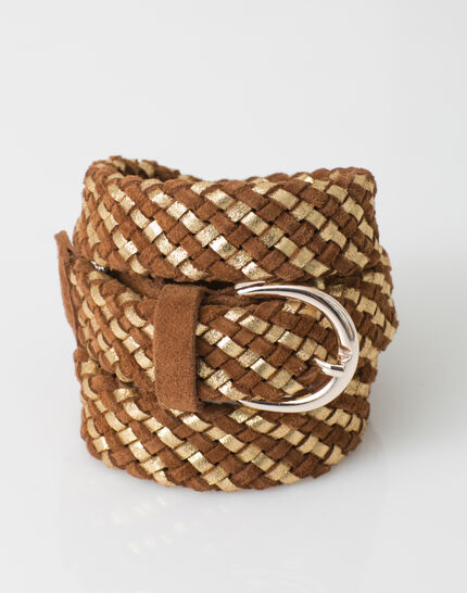 Yael camel braided leather belt (4) - 1-2-3