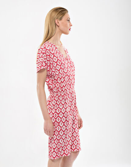 Birdy red, printed, embroidered dress (3) - 1-2-3