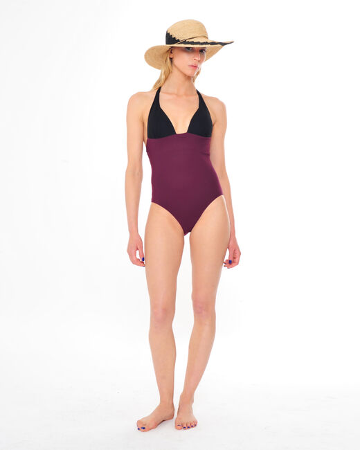 Joe one-piece bandeau swimsuit in black and burgundy  (2) - 1-2-3