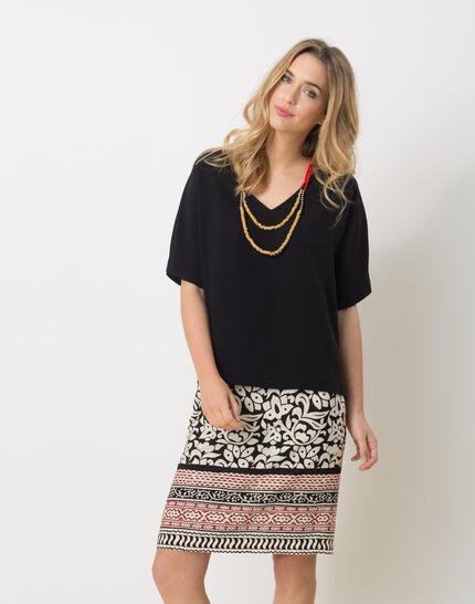 Ellen black shirt with necklace PhotoZ | 1-2-3