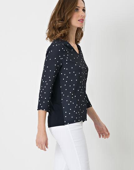 Nao dual fabric navy blue T-shirt (5) - 1-2-3