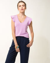 Hole lilac sweater with frilled short sleeves grape.