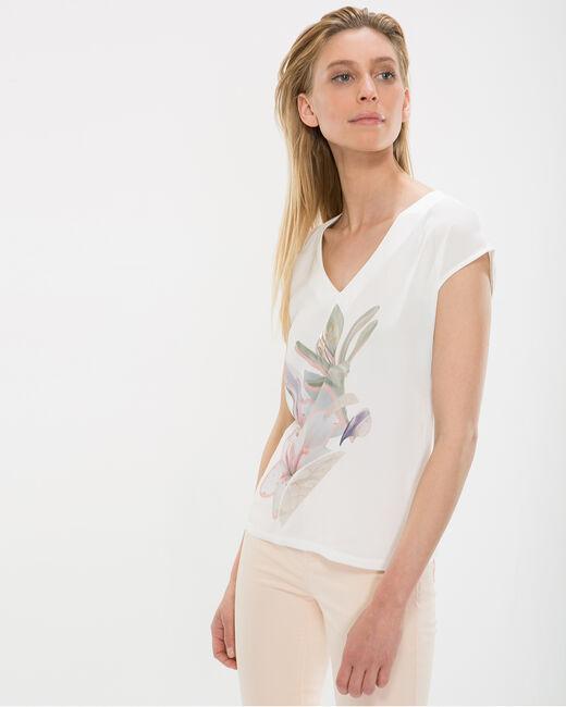 Tee-shirt écru imprimé fleurs Ninon (1) - 1-2-3