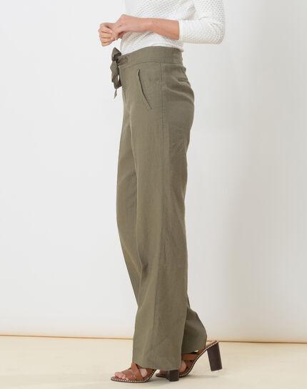 Dolly wide-cut khaki linen trousers (3) - 1-2-3
