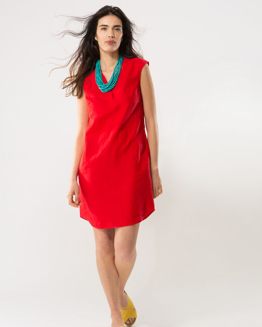 Bellini red linen dress (1) - 1-2-3