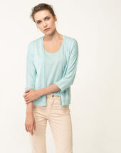 Hirondelle pale blue knitted jacket ice green.