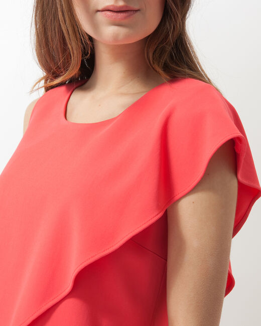 Florence coral asymmetric floaty dress (1) - 1-2-3