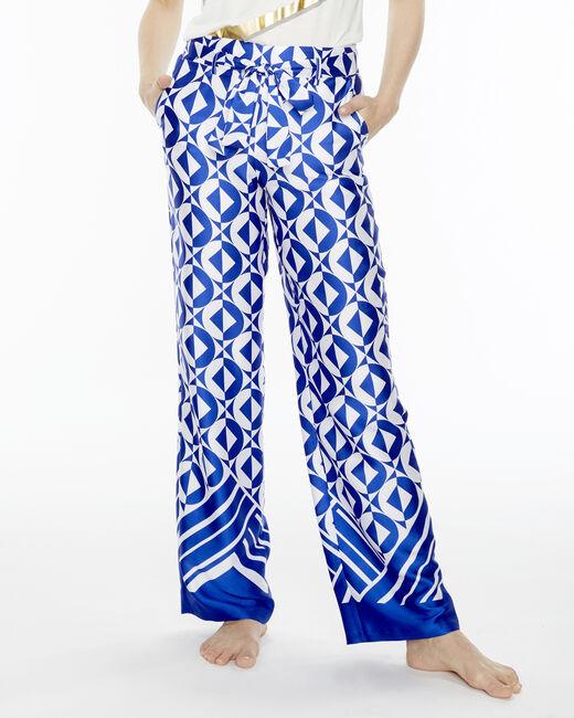 Deborah blue trousers with a geometric print (2) - 1-2-3