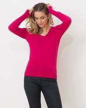 Honorine fuchsia sweater with long sleeves light fuchsia.