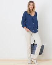 Erina blue linen shirt mid blue.