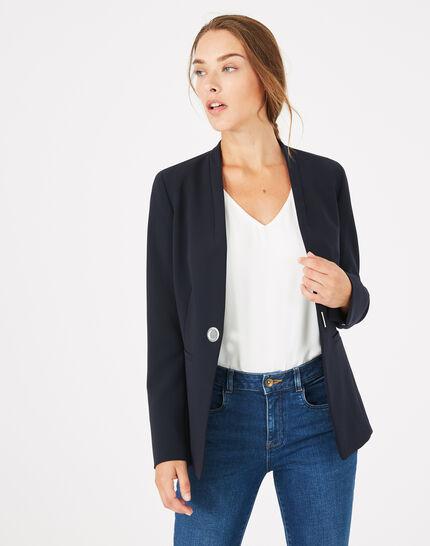 Majeste navy blue mid-length tailored jacket PhotoZ | 1-2-3