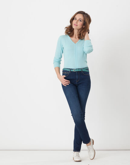 Heart turquoise cashmere sweater (2) - 1-2-3