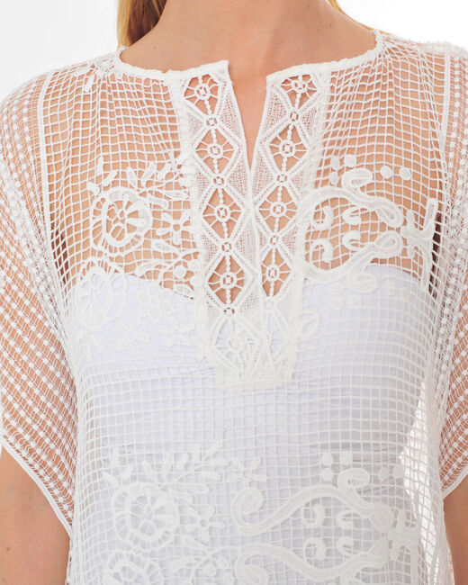 Sophie long white lace kaftan for the beach (1) - 1-2-3