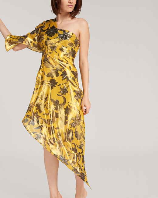 Fidji bronze-coloured dress with floral print (2) - 1-2-3