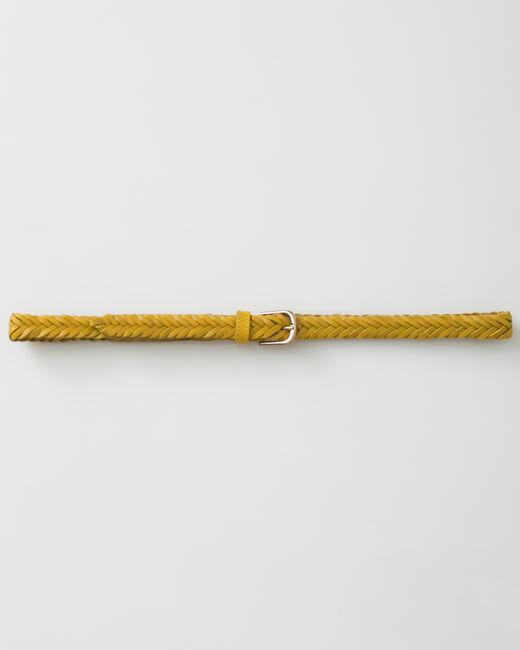 Ceinture tressée jaune en cuir Yoyo (1) - 1-2-3