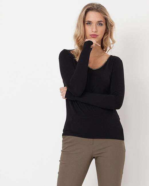 Tee-shirt noir col V orné de cristaux Swarovski Lyubia (2) - 1-2-3