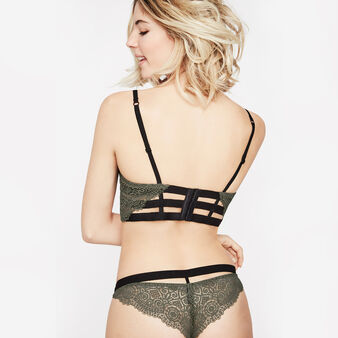 Iciz khaki green padded demi-cup bra green.
