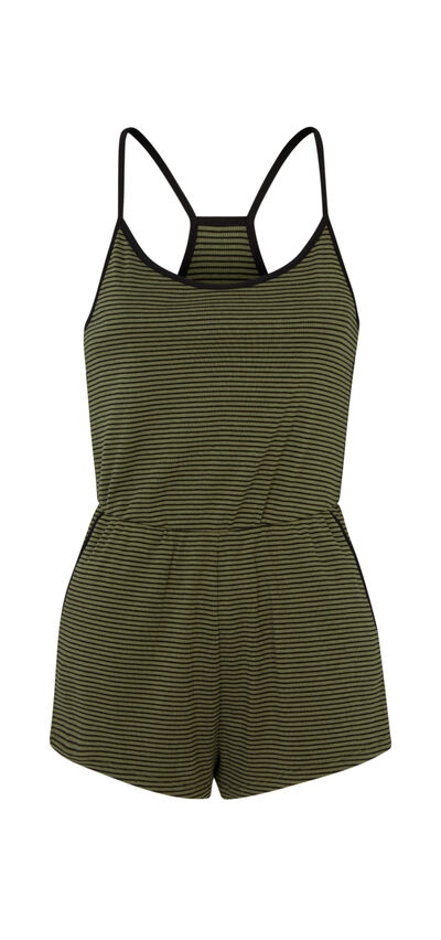 Encorniz khaki green playsuit;${refinementColor}