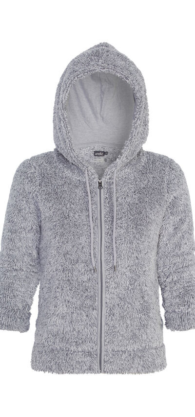 Polairiz grey plush jacket;${refinementColor}