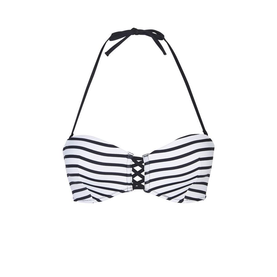 Parte de arriba de bikini blanca y negra marineriz;${refinementColor}
