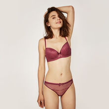 New voltiz burgundy padded demi-cup bra red.