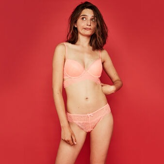 Maliciz coral push-up bra coral.