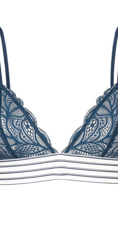 Deliciz navy blue triangle bra;${refinementColor}