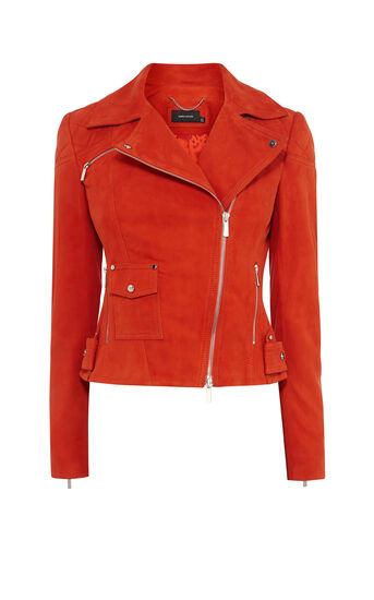 Orange Suede Biker Jacket
