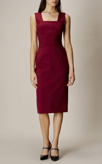 Karen Millen, SQUARE NECKLINE PENCIL DRESS Aubergine 1