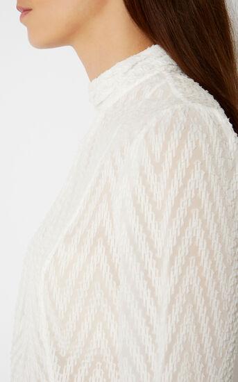 Karen Millen, HIGH-NECK CHEVRON BLOUSE Ivory 4