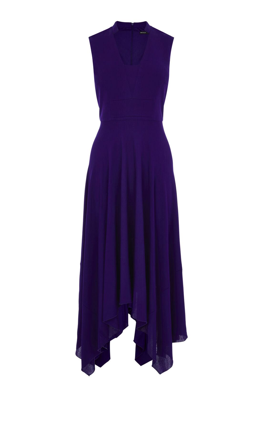 Karen Millen, FLUID CREPE LONG DRESS Purple 0