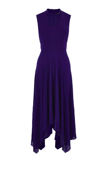 Karen Millen, FLUID CREPE LONG DRESS Purple 0