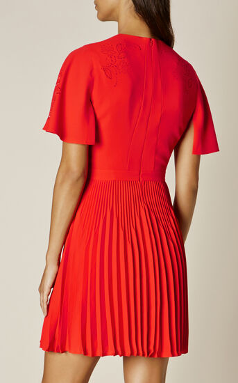 Karen Millen, LASER CUT-OUT DRESS Red 3