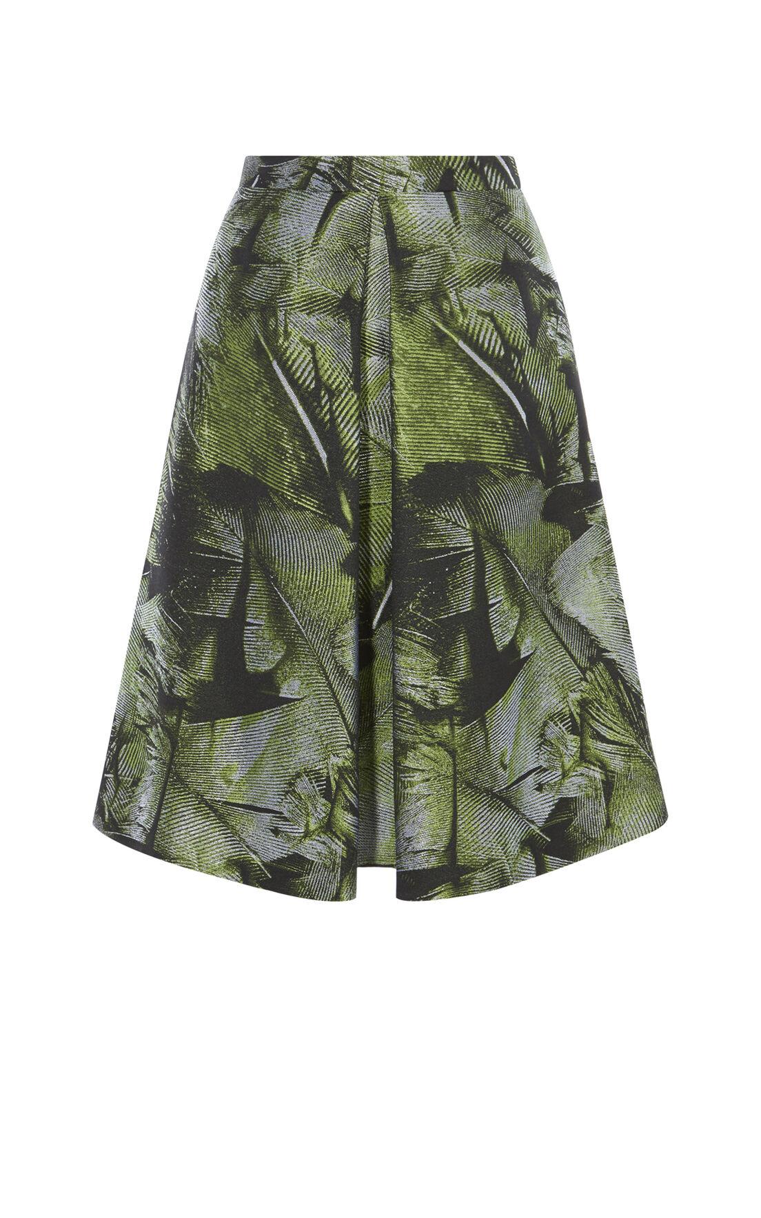 Karen Millen, PALM-LEAF JACQUARD SKIRT Green/Multi 0
