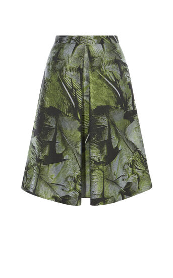 Karen Millen, PALM-LEAF JACQUARD SKIRT Green/Multi 0