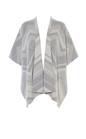 Karen Millen, CHEVRON WOOL CAPE Grey/Multi 0