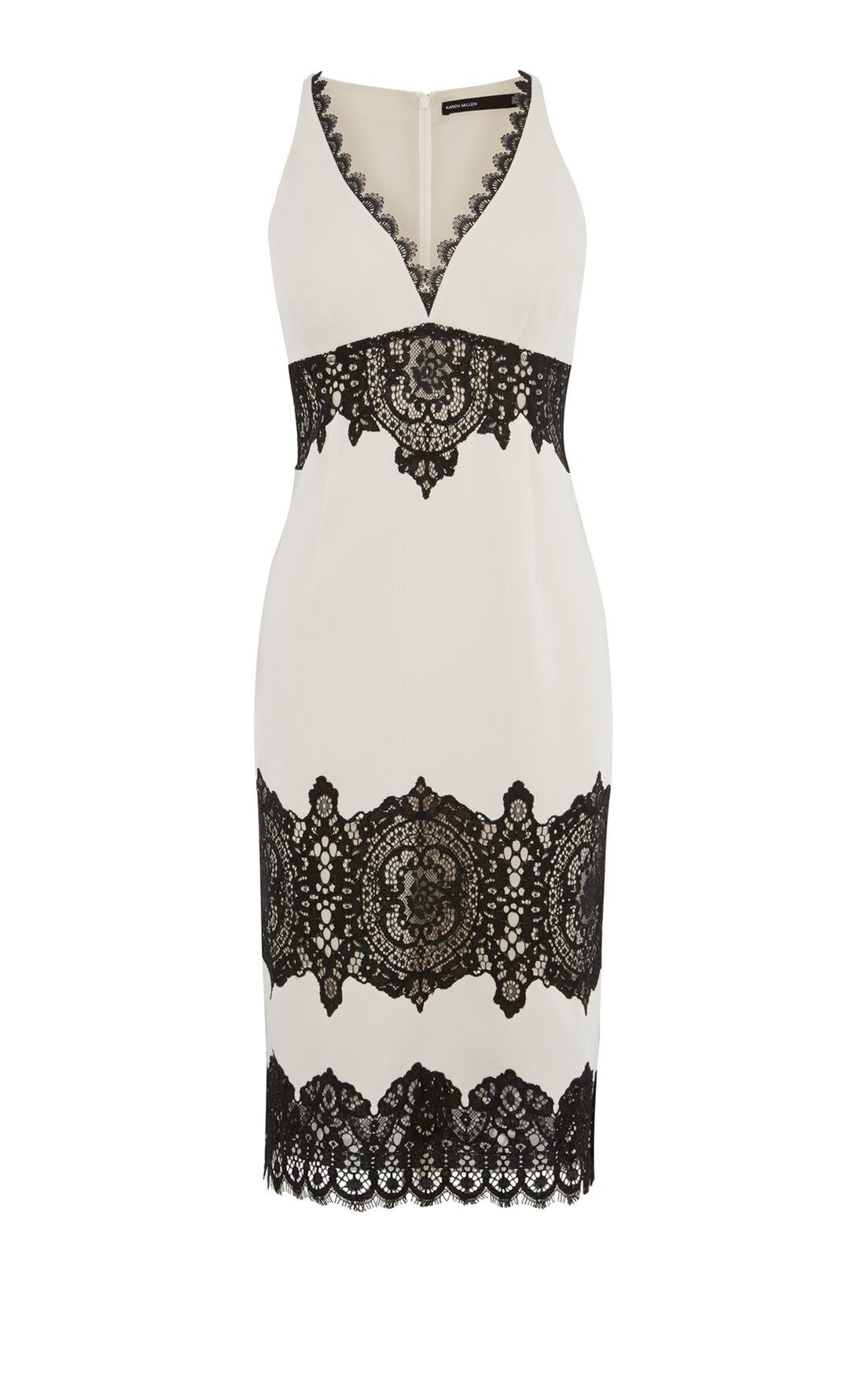 Karen Millen, LACE CREPE DRESS White/Multi 0