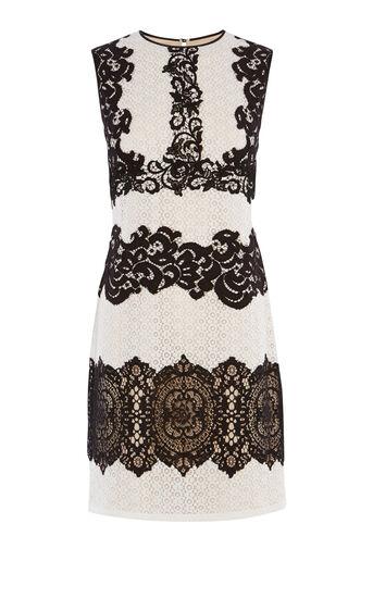 Karen Millen, CREAM VINTAGE LACE MINI DRESS Black & White 0